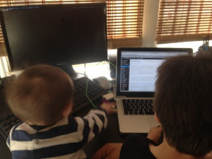 My blogging partners today - I got one on each knee